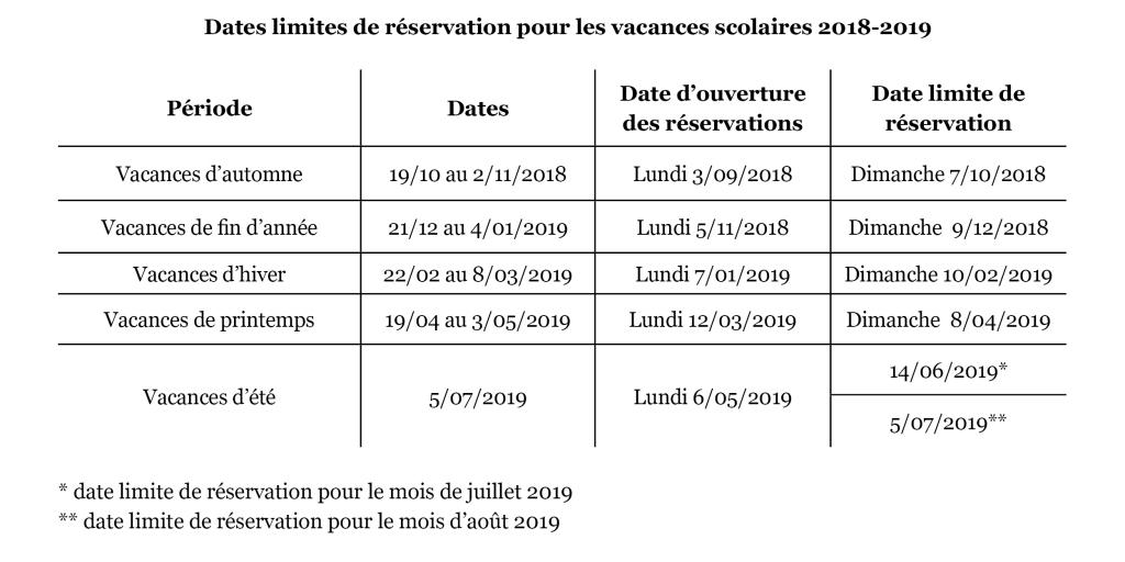Dates inscriptions 2018-2019