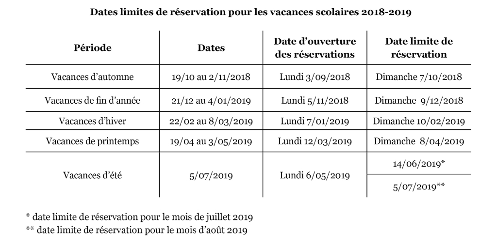 Dates inscriptions 2018-2019